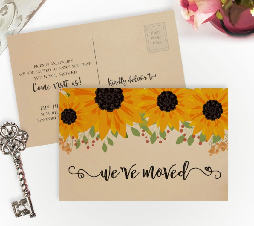 Moving cards with sunflowers