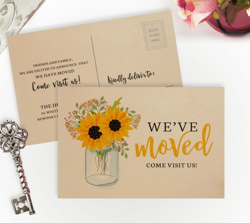 Mason jar themed moving house cards