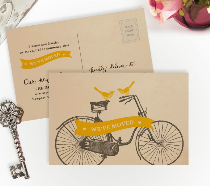 We've moved cards with two birds on the bicycle