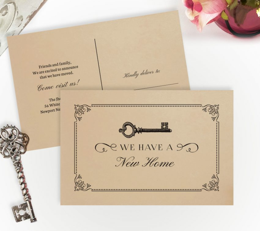 vintage key change of address cards