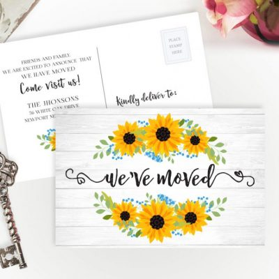 rustic moving cards