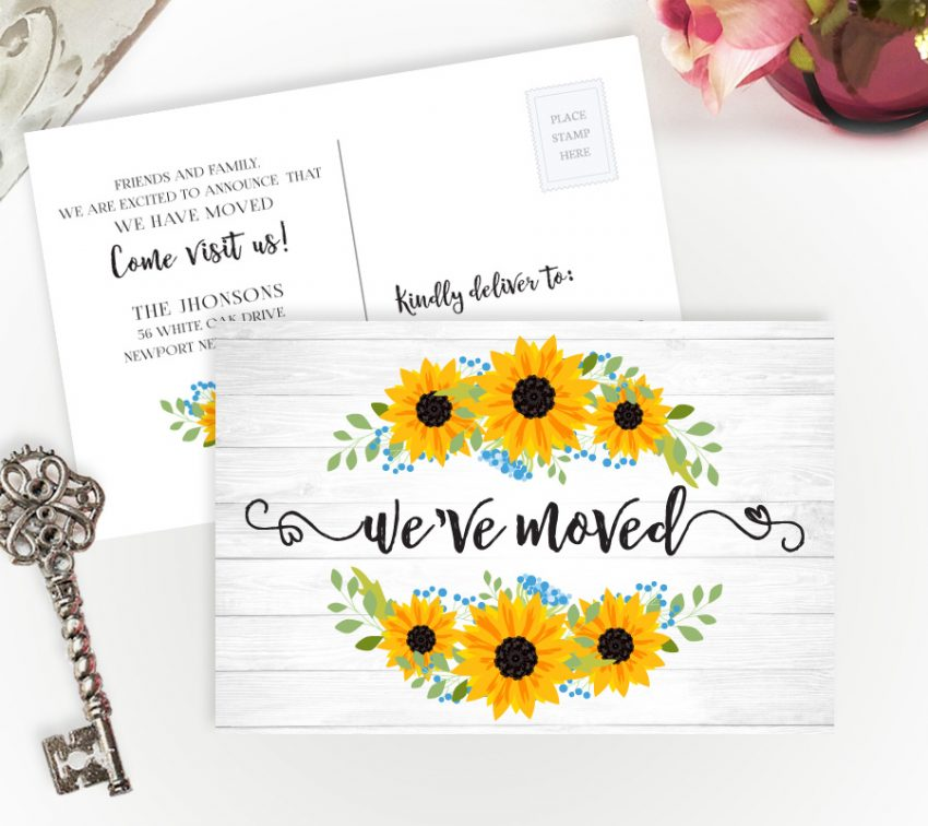 change of address postcards with sunflower wreath