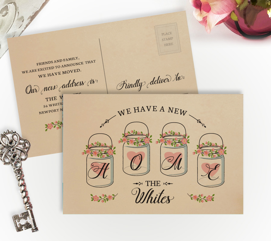 printed on kraft paper moving house cards