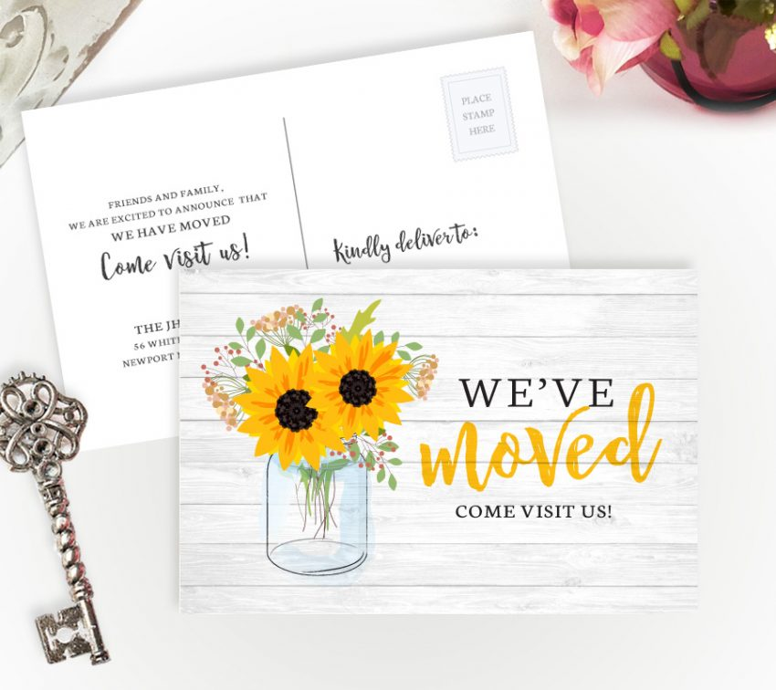 rustic moving house cards