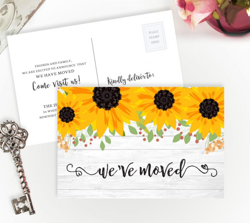 We've moved cards with beautiful sunflowers