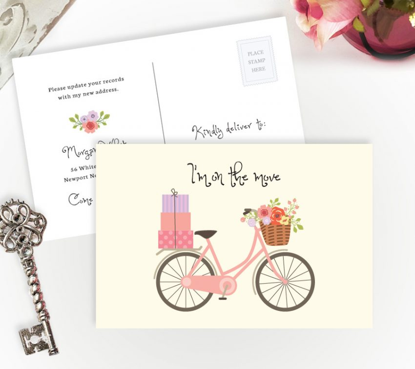 change of address cards with pink bicycle