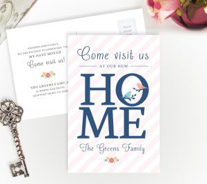 Personalized new home announcement cards