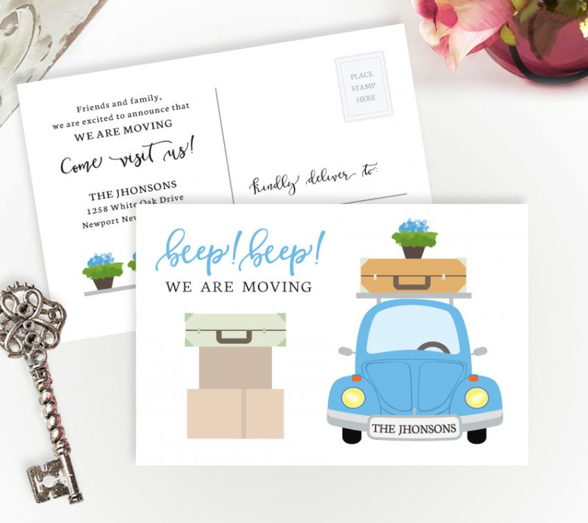 change of address cards with blue car