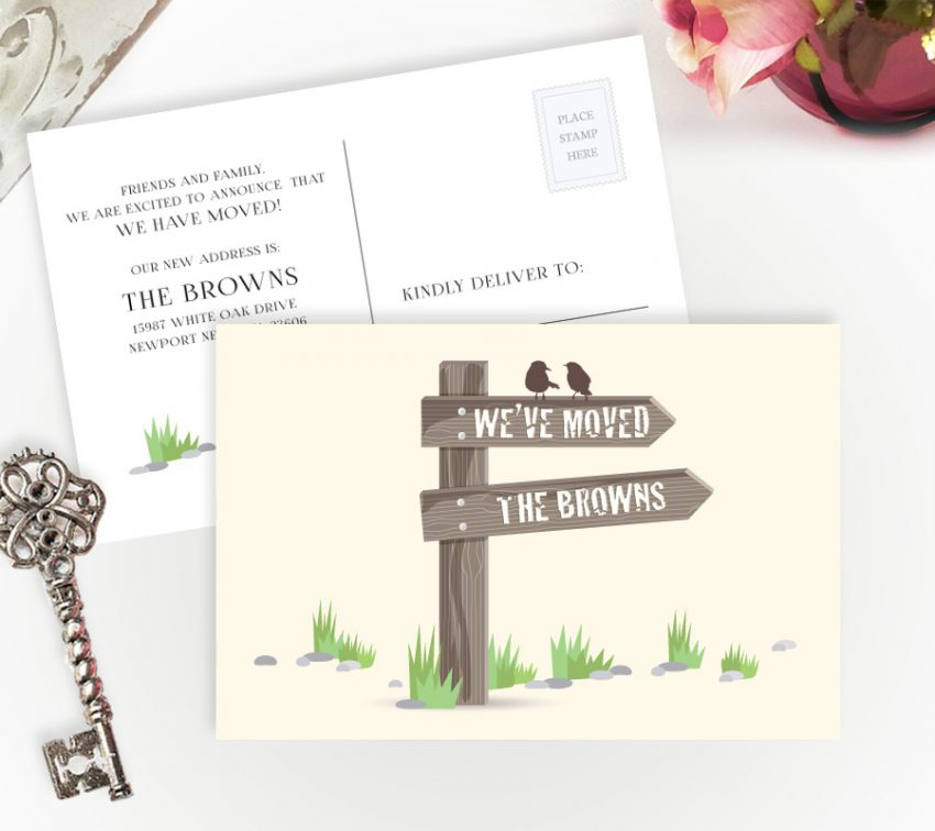 change of address postcards personalized