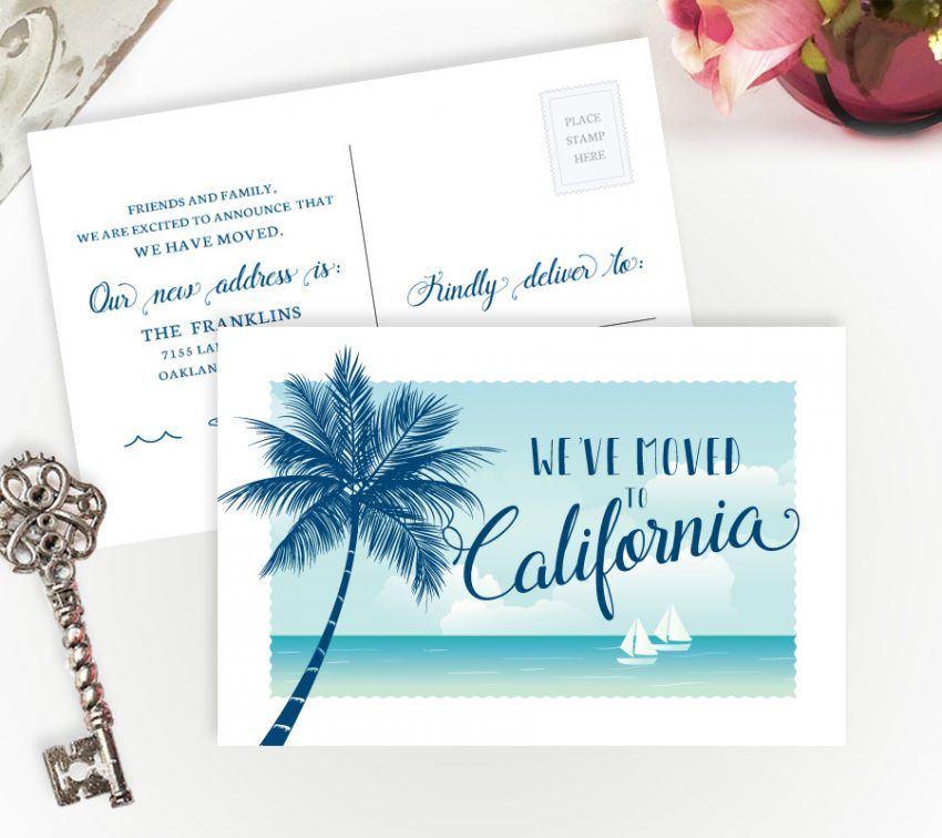 California change of address postcards personalized