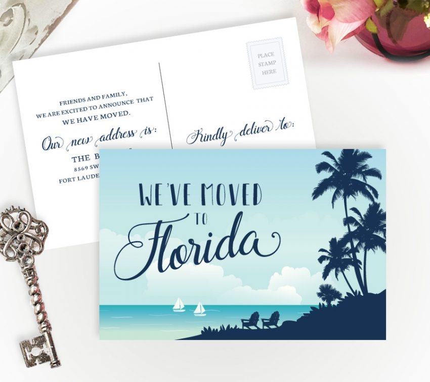 Florida moving announcement cards