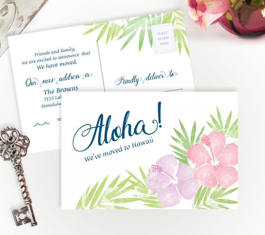 moving to Hawaii change of address cards