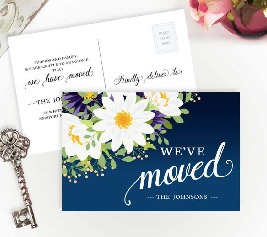 New home announcements with daisies