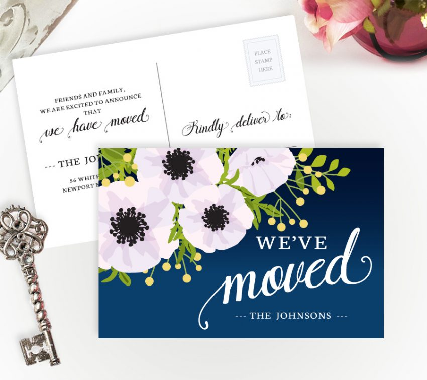 New home cards with flowers