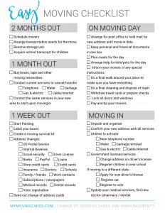 Moving checklist free printable