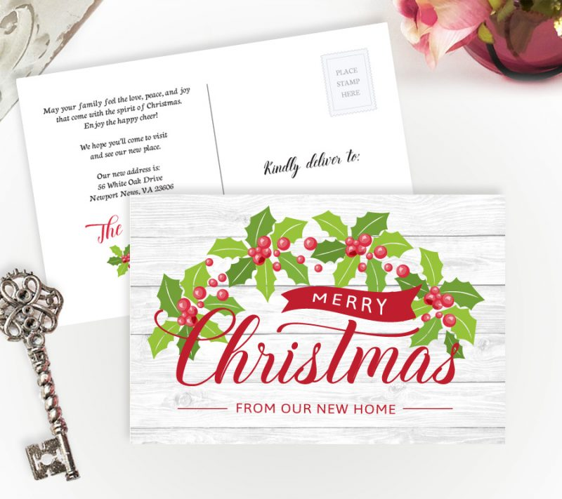 Christmas change of address postcards
