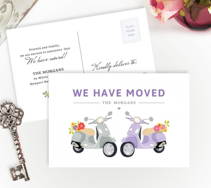 Fanny New Home Cards personalized with your details