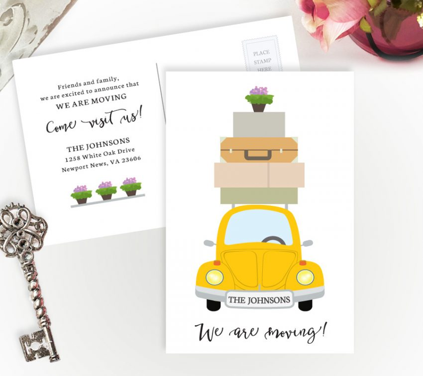 Cheap moving cards with yellow car