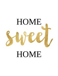"Gold and black free printable ""Home sweet home"" wall art."