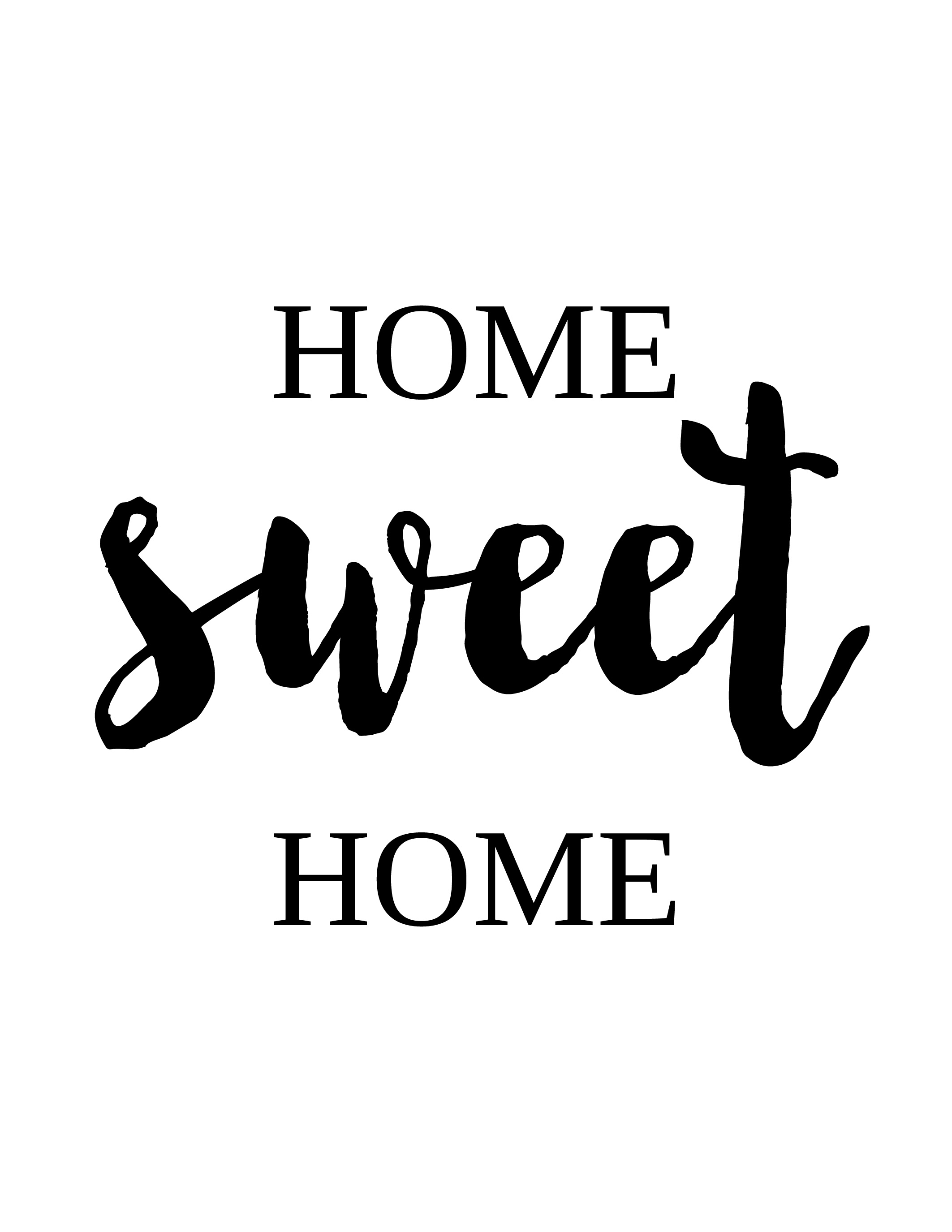 "Black and white ""Home sweet home"" wall art - Free printable"