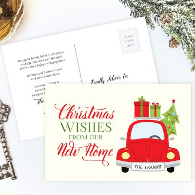 Holiday moving announcements with red car