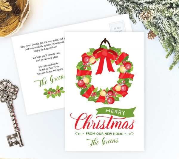 """We've moved"" Christmas cards"