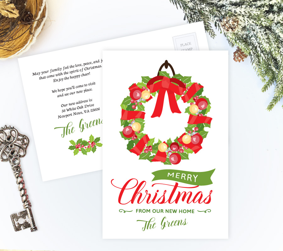 "Holiday moving announcements | ""We've moved"" Christmas cards"